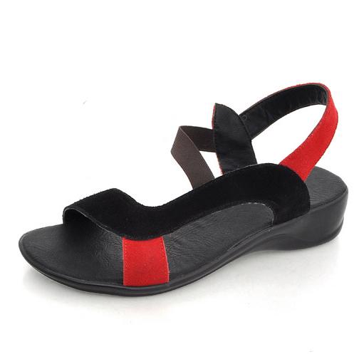 宝利来仙子秒杀!35元 全牛皮坡跟鞋厚底凉鞋女罗马鞋B01