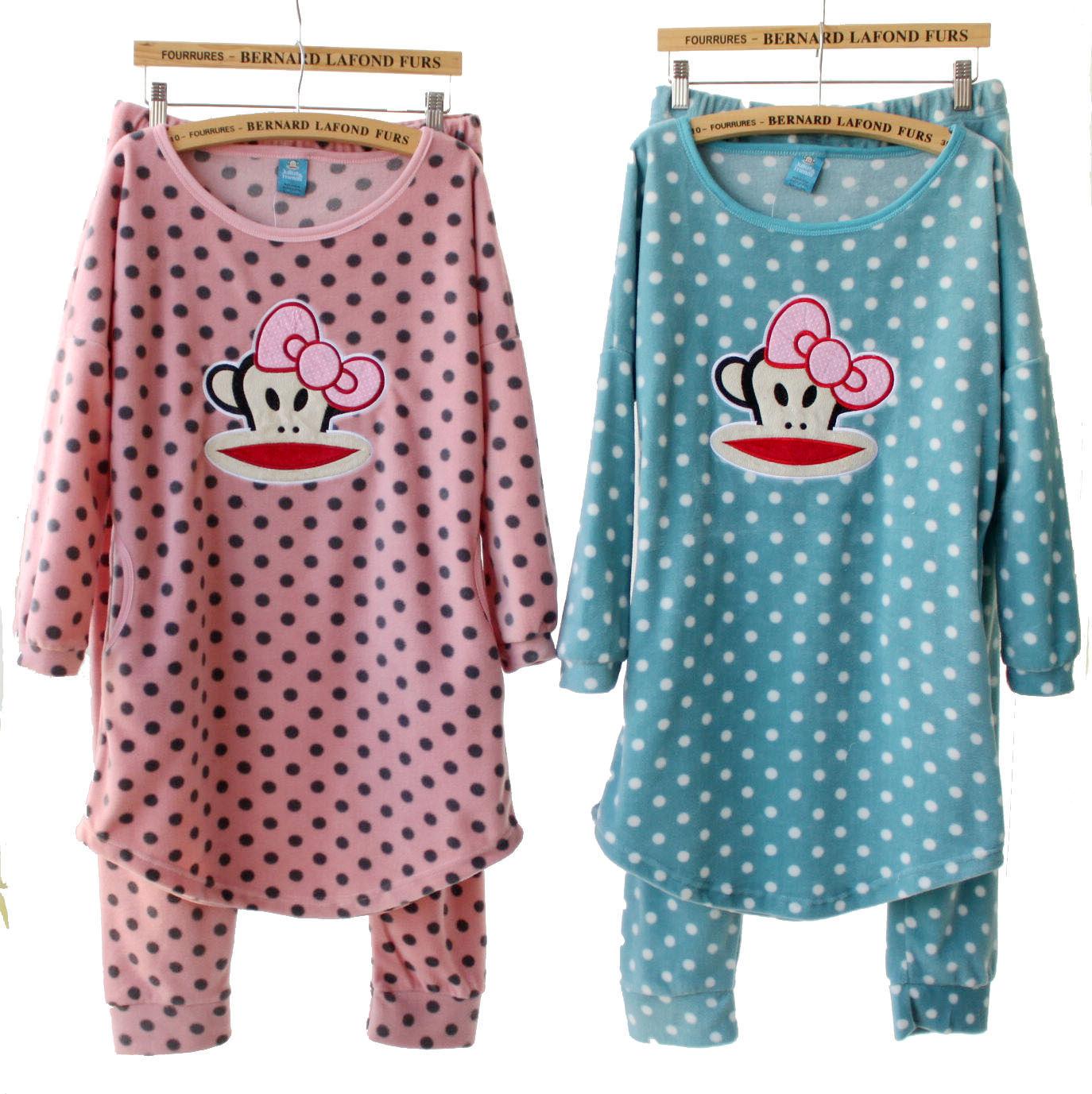 Пижама Полярный флис В горошек Свитер Для отдыха дома Девушки