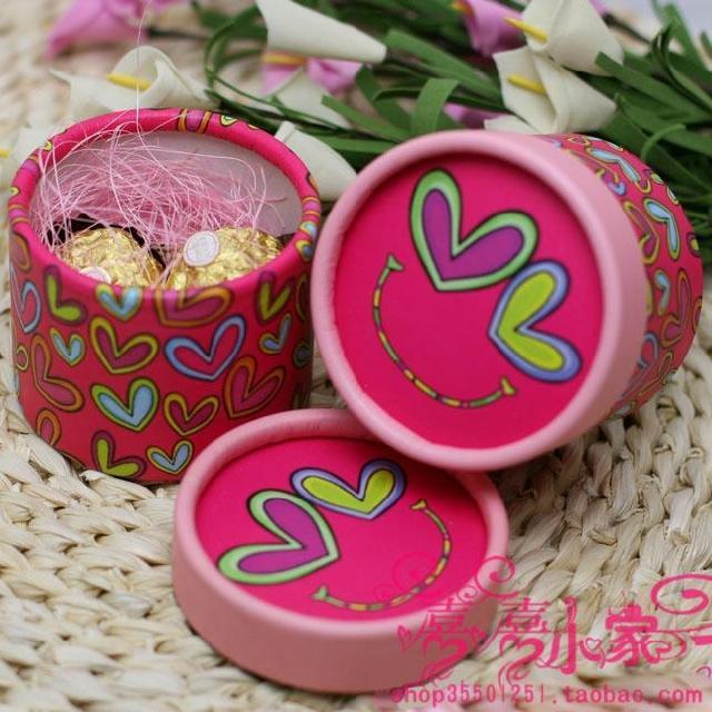 ☆圆筒圆桶喜糖盒子☆满月出生喜糖盒☆笑脸喜糖桶★武汉免费送货