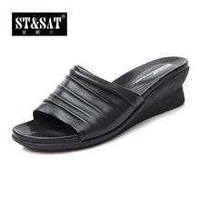 星期六专柜正品夏款羊皮中跟坡跟拖鞋女鞋子SS32S53A8L图片