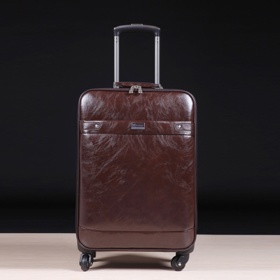Paul genuine cowhide leather travel luggage trolley case suitcase 16-inch 20-inch 24-inch board chassis business men