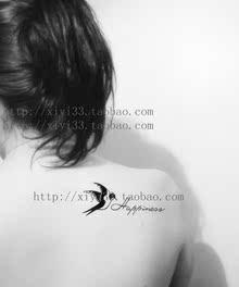 纸飞鸟燕子原宿纹身贴纸防水女男纹身贴纸英文 xy创意防水 纹身贴