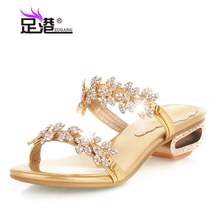 With the foot the new rhinestone sandals flowers leather slipper the Crystal Princess shoes size code A272