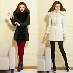 korean style luxury fur oversized fur collar slim Down