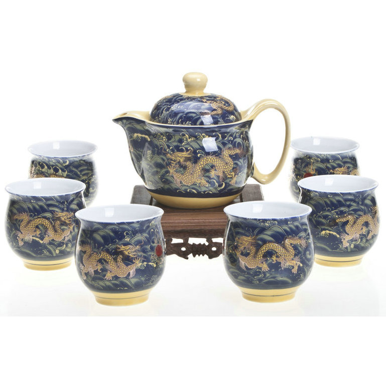 Jingdezhen Peng Bo ceramic 7 double tea set Longyou Sihai genuine (Color classification:Longyou Sihai)