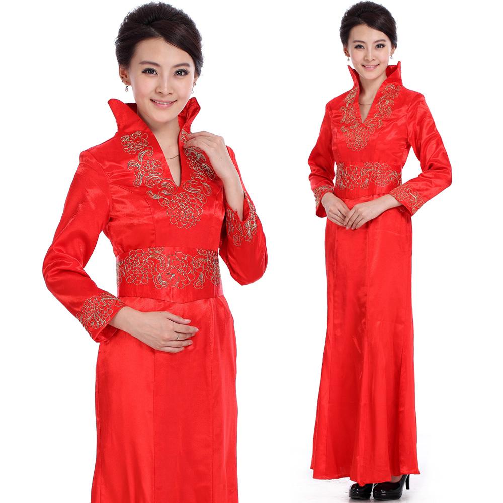 2012新款红色结婚礼服旗袍长袖 酒店迎宾服装前台礼仪小姐工作服