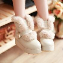 Woman shoes fall/winter 2012 new Korean plush short boots belt buckle platform thick round female snow boots boots