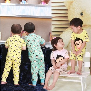 coin 2012 Summer children's wear T+  conditioning service home suits boys girls short sleeve pants + shorts set