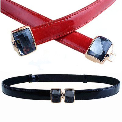 Korean wild big diamond thin leather belt Ms. thin belt female models fashion patent leather belt decorated shipping
