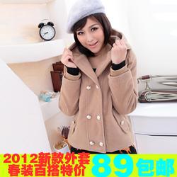 2012年新款春装 韩版双排扣大码连帽毛呢加厚短外套