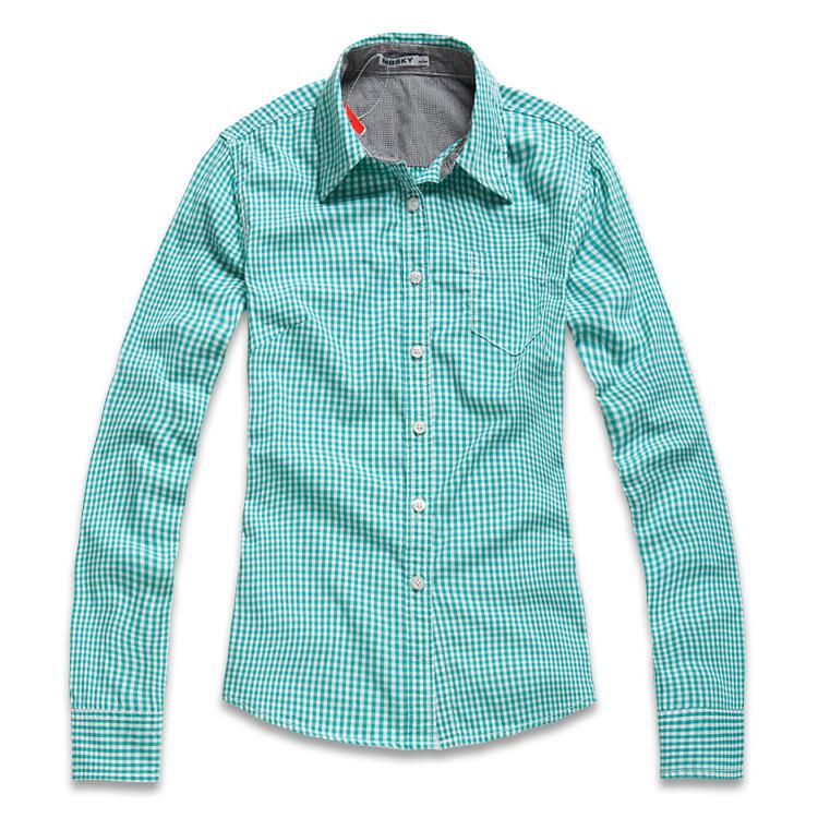 женская рубашка MBSKY 0211190 Повседневный Длинный рукав В клетку