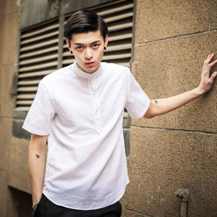 2014 Men shirts summer short-sleeved shirt male loose cotton linen shirt half sleeve shirt leisure men's clothing Taobao Agent