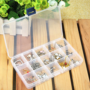 New 15 split transparent plastic storage box/storage box/jewelry box 76g