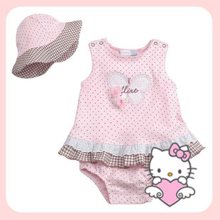Summer of 2012 Summer new style pink ass dress + Hat baby clothes baby triangle climbing clothing