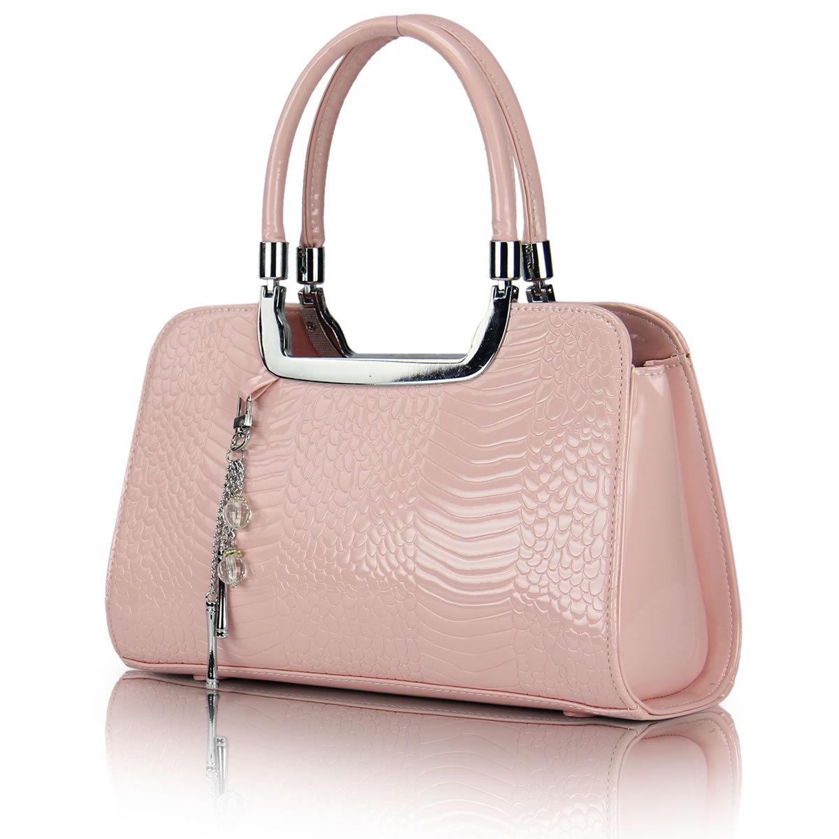 新款小型韩版手提包鳄鱼纹压花女式包粉红色新娘结婚包包邮送挂饰