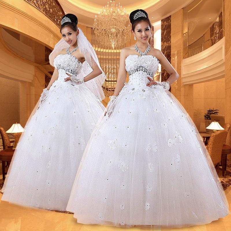 天使情缘婚纱2013甜美公主婚纱 韩版齐地新娘礼服 绑带婚纱蓬蓬裙
