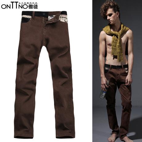 男装修身休闲裤 富有弹力的针织绣花长裤