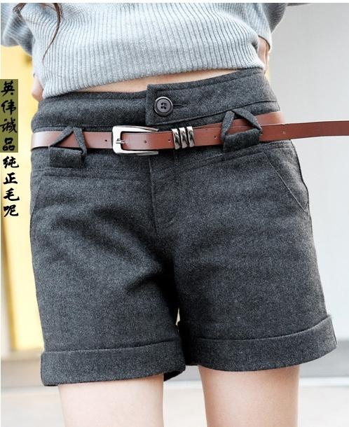 Женские брюки Осень/зима, сапоги специальное предложение электронной почте новый Корейский моды высокой талией длинные ноги скручиваемость шерсти брюки брюки/шорты Шорты, мини-шорты Прямые