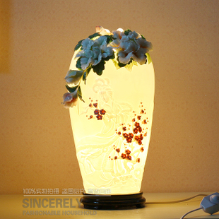 Jingdezhen ceramic lamps and high temperature enamel color porcelain lamp wedding decoration gift craft decoration