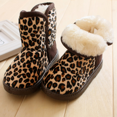 Children's winter snow boots female leopard in the tube male Bao Bao big plus velvet thick warm cotton-padded shoes 1-2-3-4-5 years old
