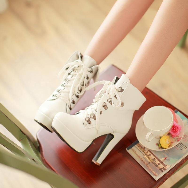 2014秋季新款欧美潮性感高跟粗跟马丁靴圆头系带防水台短靴女靴子