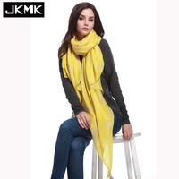 JKMK 正品秋冬欧美柠檬黄柳叶个性流苏 棉麻围巾丝巾披肩超大包邮