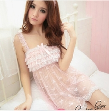 Sexy pajamas woman temptation Ms. Sexy hot temptation Pajamas condole belt of bud silk nightgown household