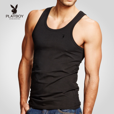 Free shipping Playboy men's cotton vest male sports and fitness tight lycra backing undershirt male summer