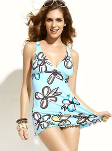 Basha swimsuit 2012 dream sweet with fresh new printing ink connected swimming dress 013112246