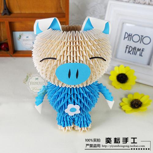 原创 奕耘手工创意diy 可爱情侣粉蓝猪 三角插立体折纸 材料包图片