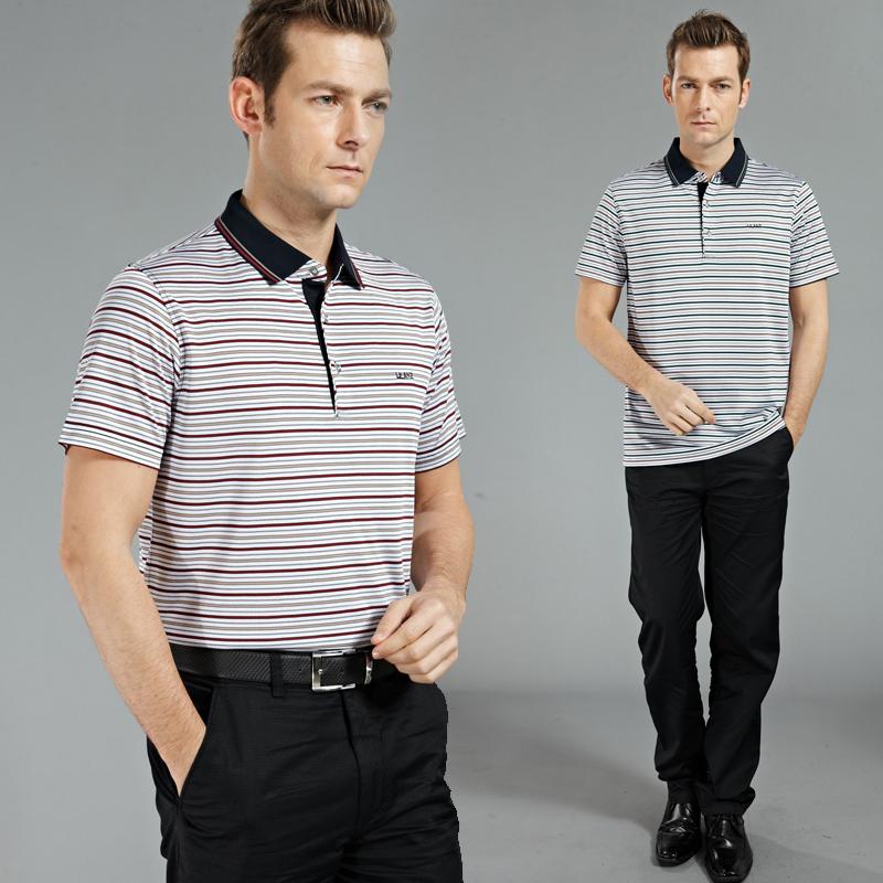 14夏季新款利郎男装短袖t恤 中年男士休闲冰丝条纹体恤衫专柜正品