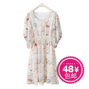 2012 Summer new Korean Lady doodles temperaments summer dress short sleeve chiffon dress women's dress WQ1436