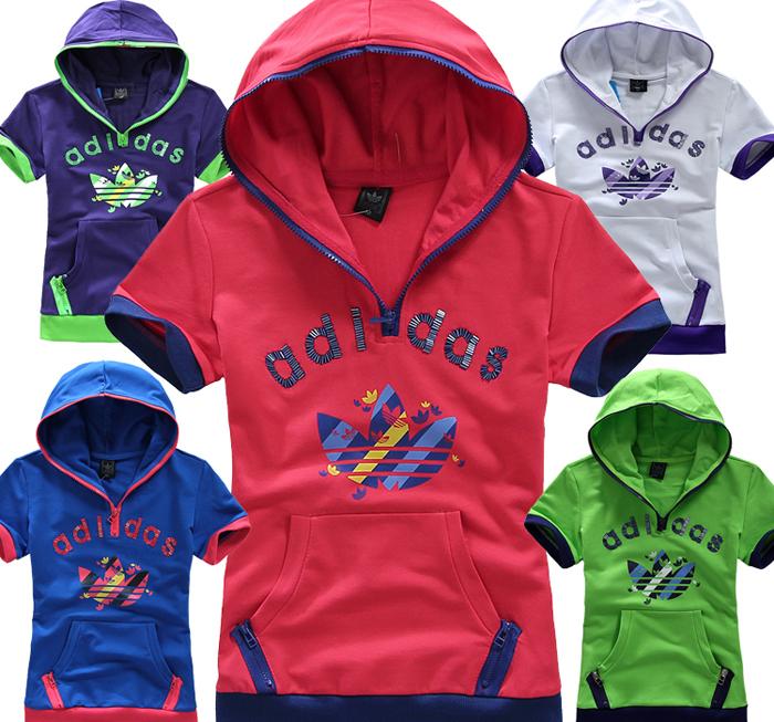 Спортивная футболка Clover adidas 002 Стандартный Воротник-стойка 100 хлопок Для спорта и отдыха Воздухопроницаемые, Влагопоглощающие % Логотип бренда, Рисунок