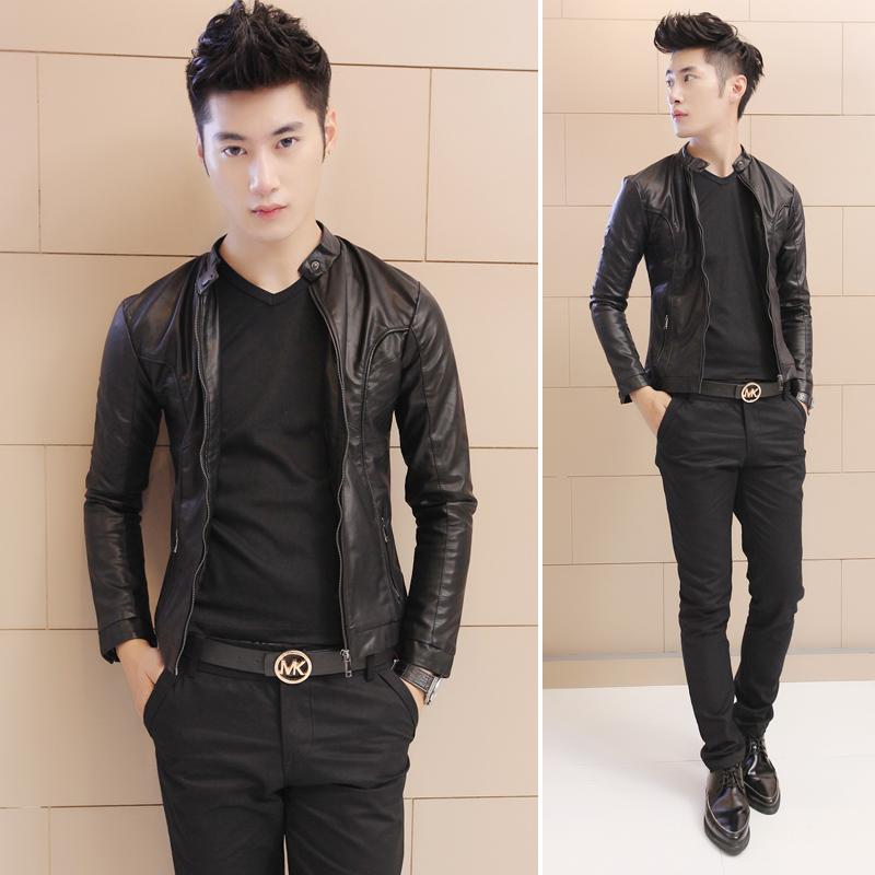 休闲小�_春装男士休闲个性英伦风单皮衣型男韩版修身时尚潮流黑色小外套