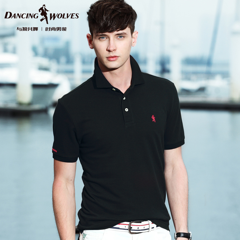 D-WOLVES Short sleeve T-shirt new summer 2014 Men's polo shirt collar men's cotton Men's T-shirt Taobao Agent