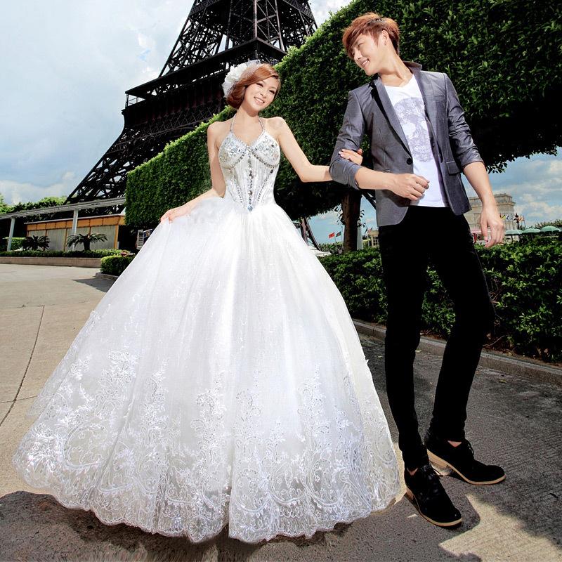 名门新娘挂脖韩版公主婚纱 2013年最新款 深V领齐地韩式婚纱902