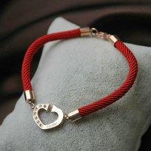 Austriaca de la industria hermosa joyería del diamante de los corazones en la cadena de pulsera roja Oh tricolor no Benming