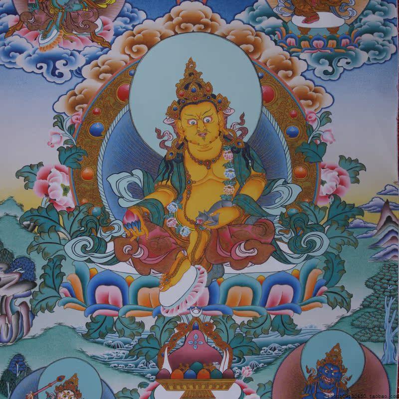 五姓财神黄财神黑财神白财神红财神绿财神西藏唐卡藏传佛像画1型