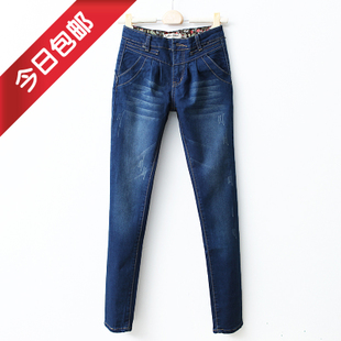 Spring clothing new Korean skinny skinny white scratches woman pencil pants feet pants trousers jeans WK1012