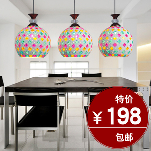 Restaurant lighting chandelier three creative mosaic dining chandelier chandelier with three head restaurant bar lighting