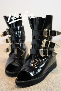 2012新款日单时尚个性金属皮带扣鱼嘴漆皮隐形内增高单鞋休闲女鞋