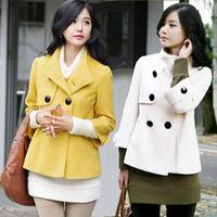 2015秋冬装新款韩版修身双排扣时尚女装羊绒毛呢外套 短大衣
