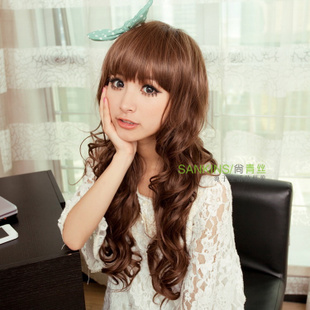 Shang Qingsi hairstyles long curly hair wigs ladies wig long fluffy Qi Liuhai temperament girls real shot