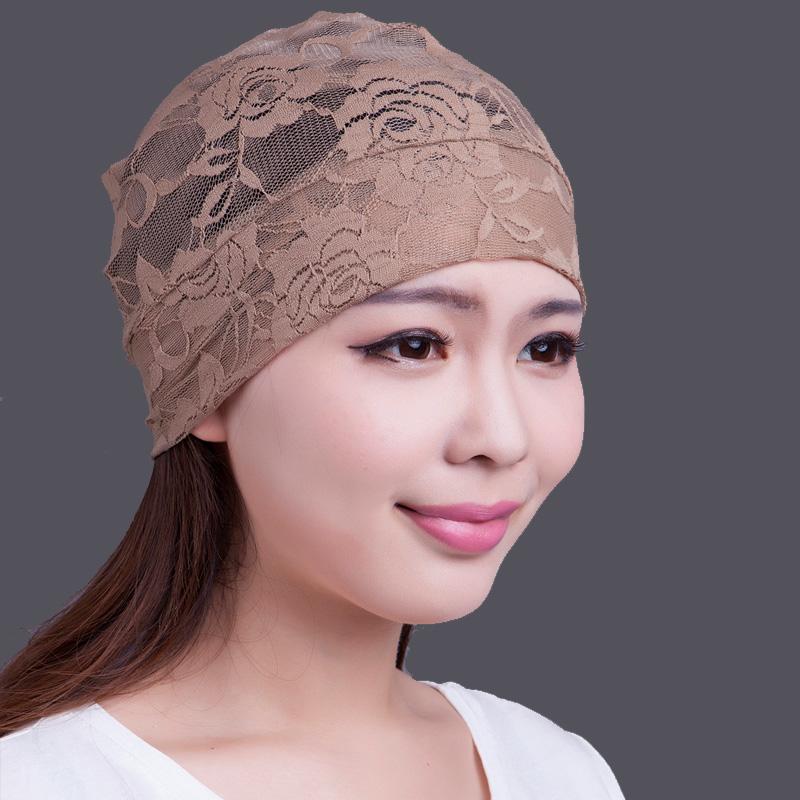 带兜鱼 女士夏秋头巾套头睡帽镂空蕾丝玫瑰图案,清凉薄款