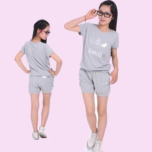 童装中大女童套装夏装2014短袖短裤套装儿童运动套装