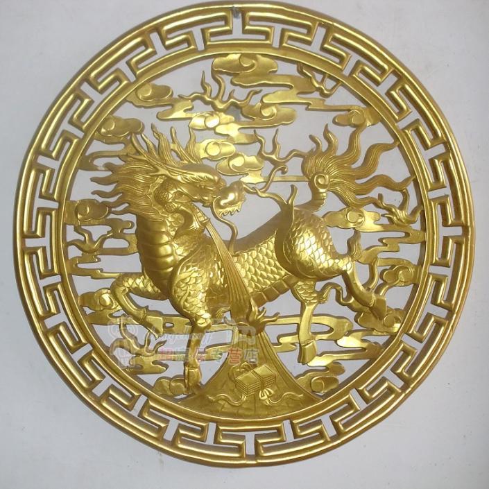 东阳木雕挂件 仿古挂件 麒麟挂件 80cm宽圆形 玄关中式装修