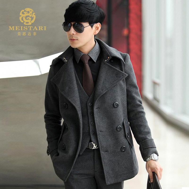 Пальто мужское Meistari Шерстяная ткань для пальто Отложной воротник