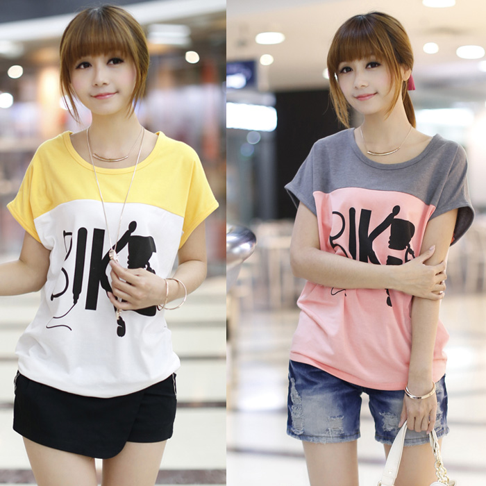2014 the latest summer clothes batwing coat and a half sleeve T-shirt female fashion with short sleeves Big yards of dress tide  Taobao Agent