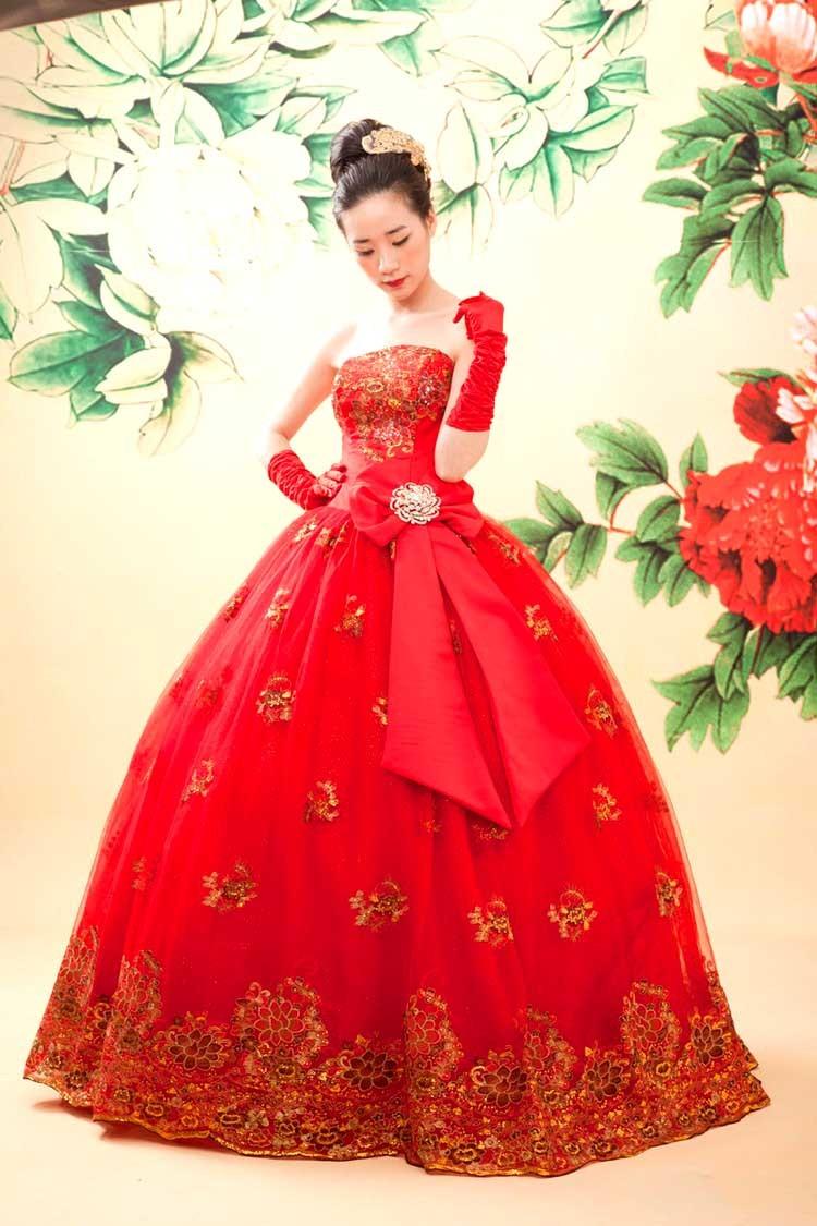 忆镁薇 大红色韩版新娘晚礼服/婚纱礼服 敬酒服c109