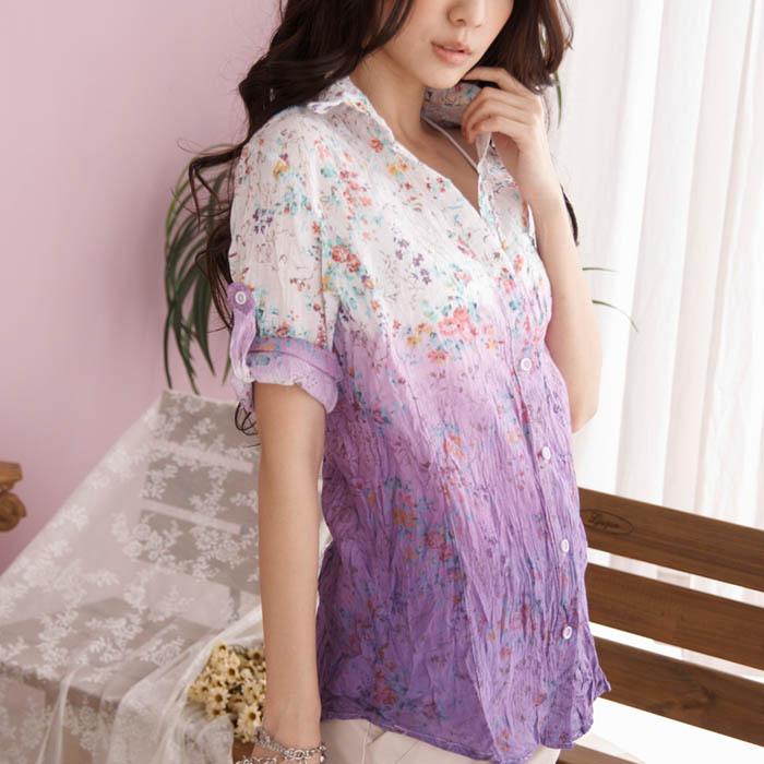 женская рубашка Shiratori Hanako 1607 CY0017 Повседневный Короткий рукав